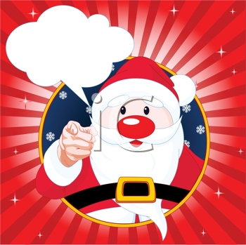 Royalty Free Clipart Image of  Santa Claus Pointing and Talking