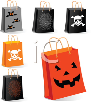 Royalty Free Clipart Image of Halloween Themed Bags
