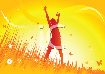 Royalty Free Clipart Image of a Silhouetted Woman With Her Arms Up in the Air