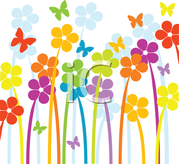 Royalty Free Clipart Image of a Beautiful Floral Design With Spring Flowers and Butterflies
