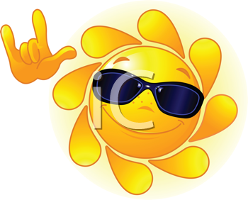 Royalty Free Clipart Image of a Smiling Sun Wearing Sunglasses Showing �I love you� Gesture