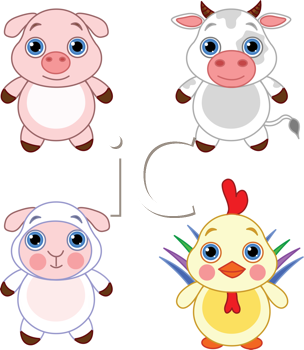 Royalty Free Clipart Image of Baby Farm Animals