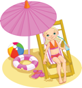 Royalty Free Clipart Image of a Girl on a Sun Chair With an Umbrella