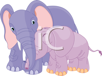 Royalty Free Clipart Image of a Parent and Baby Elephant Hugging