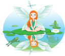 Royalty Free Clipart Image of a Fairy on a Lily Pad Looking at a Butterfly
