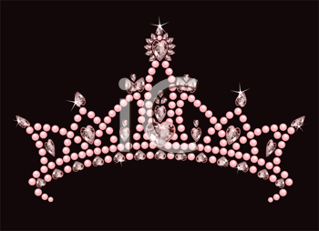 Royalty Free Clipart Image of a Pink Crown on Black
