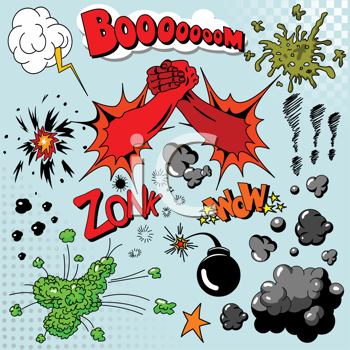 Royalty Free Clipart Image of Comic Book Elements