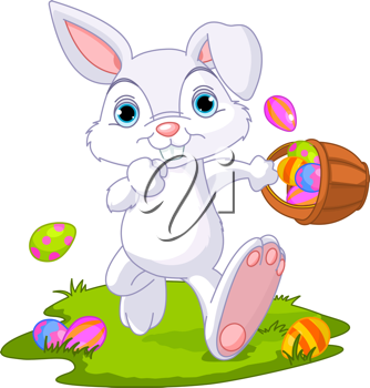 Cute Easter Bunny Hiding Eggs