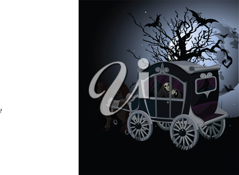 Royalty Free Clipart Image of a Halloween Carriage on a Night Background