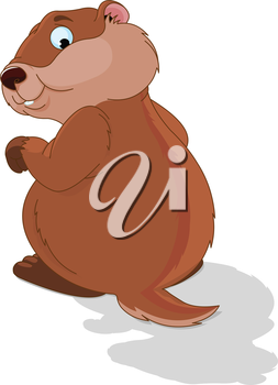 Illustration of a cute groundhog