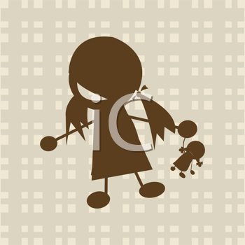 Royalty Free Clipart Image of a Little Girl Playing With a Doll