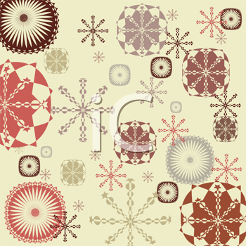 Royalty Free Clipart Image of a Colourful Snowflake Background