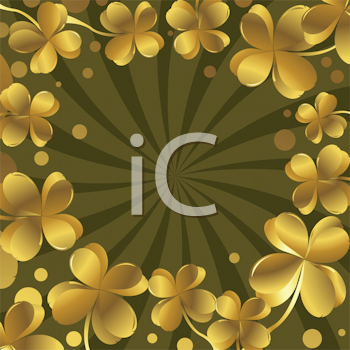 Royalty Free Clipart Image of a Shamrock Frame Under a Spiral Background