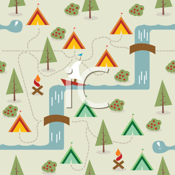 Camping site map, seamless background