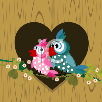 Cartoon background with two birds in love
