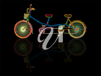 Stylized tandem bicycle and reflection against black background