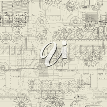 Cars, trains and construction vehicle drawing, seamless pattern background.
