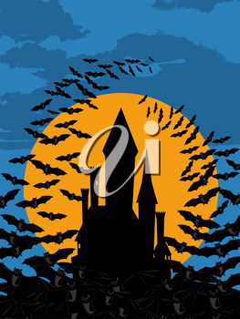 Halloween black castle and bats wallpaper