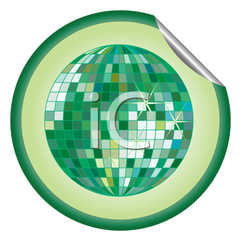 Royalty Free Clipart Image of a Green Disco Ball Sticker