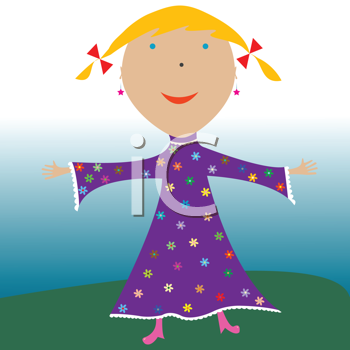 Royalty Free Clipart Image of a Happy Little Girl
