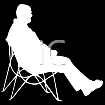 Royalty Free Clipart Image of a Man in White Silhouette on Black