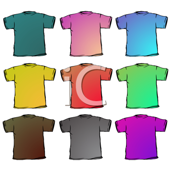 t shirts collection against white background, abstract vector art illustration