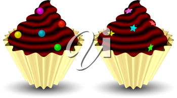 candy cupcakes against white background, abstract vector art illustration; image contains gradient mesh