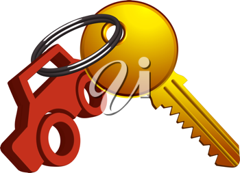 car and key on the same ring against white background, abstract vector art illustration