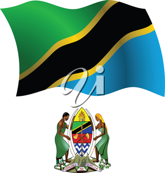 tanzania wavy flag and coat of arm against white background, vector art illustration, image contains transparency