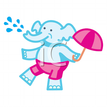 Royalty Free Clipart Image of a Dancing Elephant With an Umbrella