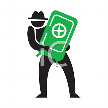 Royalty Free Clipart Image of a Man With a Safe