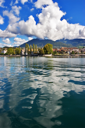 A panorama of coast of lake Leman in Switzerland.