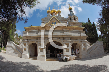 The great city of Jerusalem. Orthodox church of St. Mary Magdalene. The magnificent church of the famous Jerusalem stone, surmounted by golden domes