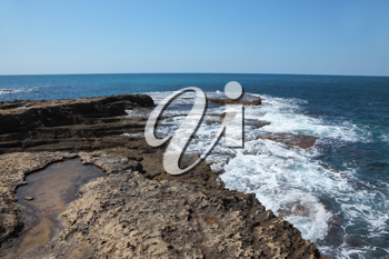Picturesque coast of Mediterranean sea in the early spring. Northern border of Israel