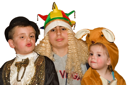 Three happy children with carnival clothes