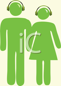 Royalty Free Clipart Image of Green People With Headsets