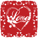 Royalty Free Clipart Image of Love in a Heart With a Flower and Berries and Doves Around the Border