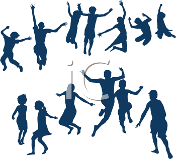 Royalty Free Clipart Image of Many Jumping Children