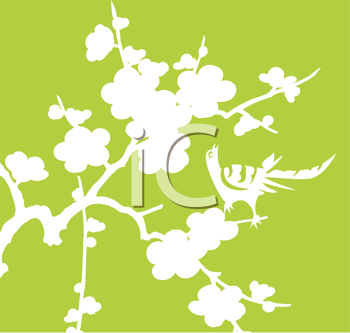 Royalty Free Clipart Image of a White Bird on White Flowers on a Green Background