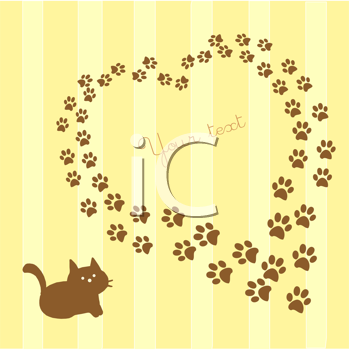 card with cat and paws heart shaped