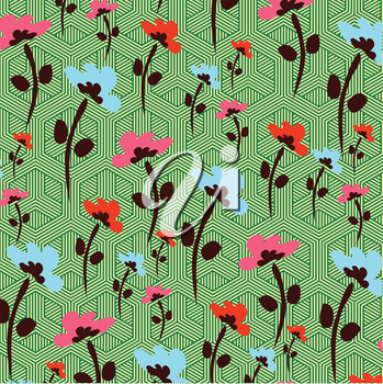 flowers on complicated background pattern