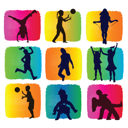 kids playing on colored backgrounds