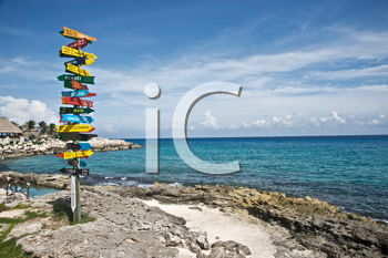 Pole indicating the direction and distance to several countries, from the Mayan Riviera