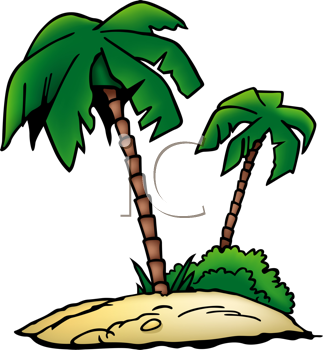 Royalty Free Clipart Image of Palm Trees on a Desert Island