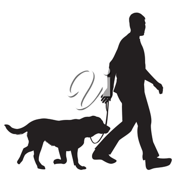 Silhouettes of man and dog