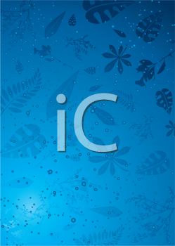 Royalty Free Clipart Image of Autumn Leaves on Icy Blue