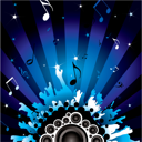 Royalty Free Clipart Image of a Stereo and Musical Note Background
