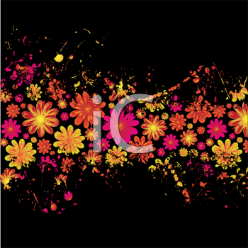 Royalty Free Clipart Image of a Black Background With a Floral Band in the Centre