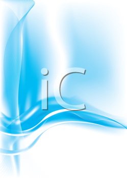 Royalty Free Clipart Image of a Blue Background With Flowing Lines