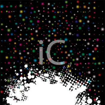 Royalty Free Clipart Image of a Coloured Dot Background With a Grunge Spatter